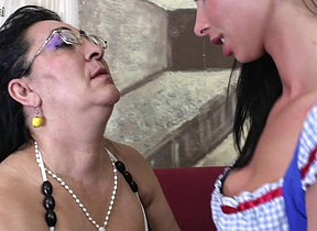 Two horny old and young lesbians love to eat pussy