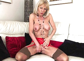 Naughty blonde British housewife getting wet