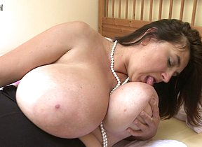 Huge breasted housewife playing with her pussy