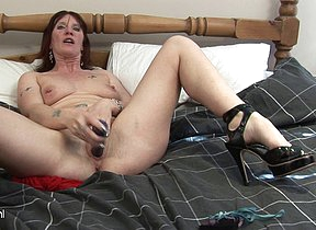Horny housewife playing all alone