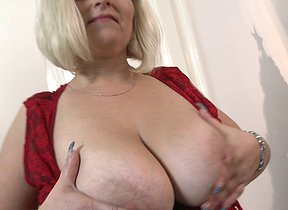 Big breasted mature BBW playing with herself