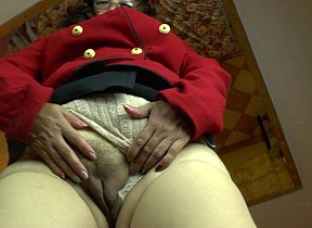 Horny Latin mature lady playing with her hairy pussy