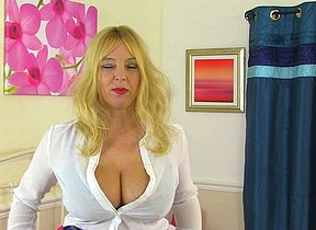 Big breasted British mom playing with her pussy
