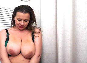 Big jugged Brit housewife frolicking with herself