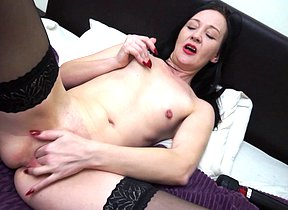 Supernaughty Brit housewife playing with herself