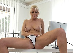 Scorching redhot Mummy frolicking with her vulva on the office