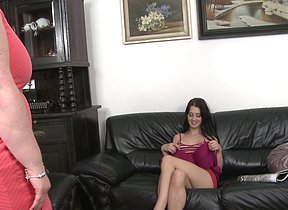 Supernaughty senior and youthfull lezzies go at it on the couch