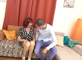 Naughty housewife having joy with the boy next door