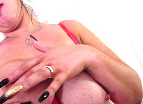 Massive titted Brit temptress toying with herself