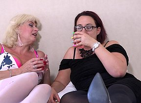 Several horny mature gentry licking and playing with each other